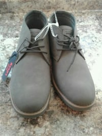 pair of gray leather work boots Grand Prairie