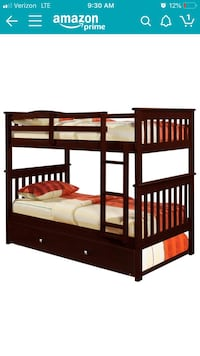 Used Brown Wooden Bunk Bed With Trundle Sleeps 3 For Sale In New