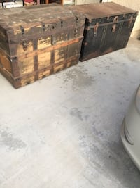 Antique early  20th century steamer trunk storage