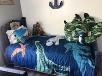 Kids bed, mattress and bedding excluding pillows
