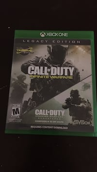 Xbox One Legacy edition Call of Duty Infinite Warfare and Call of Duty Modern Warfare Remastered game case Marion, 49720