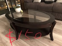 round black wooden framed glass top table Markham, L3S 3M2