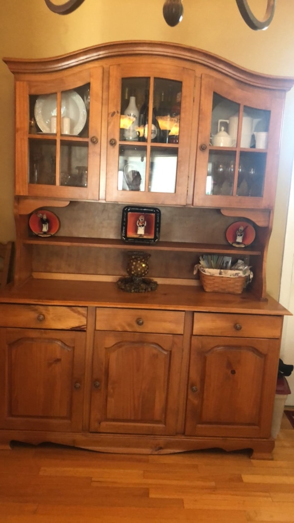 Solid wood dining room hutch - two pieces.