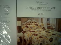 white, red and beige floral 3 piece duvet cover