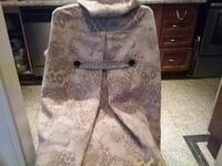 whit and gray floral coat
