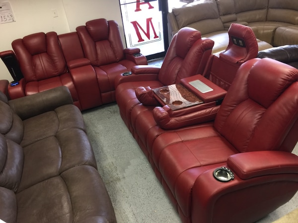 Used Kingvale red leather power recliner living room set sofa and ...