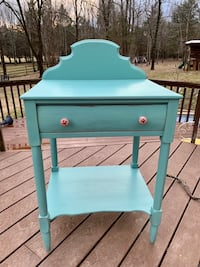 Antique solid wood spruce green farmhouse kitchen stand table dry sink