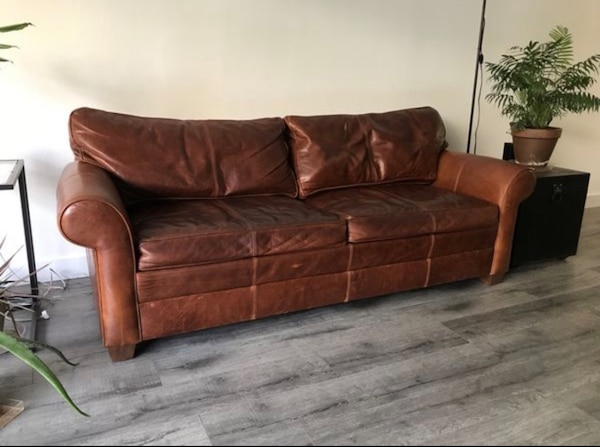 Used Large Ethan Allen Leather Sofa For