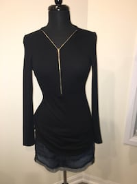 New Black top with gold zipper size S