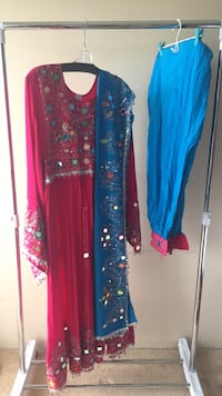 women's blue and red floral dress Burnaby, V5E 3G8