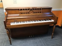 brown wooden upright piano with chair College Park, 20740