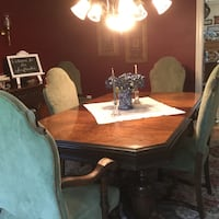Antique walnut formal dining table and 6 upholstered chairs Stafford, 22554