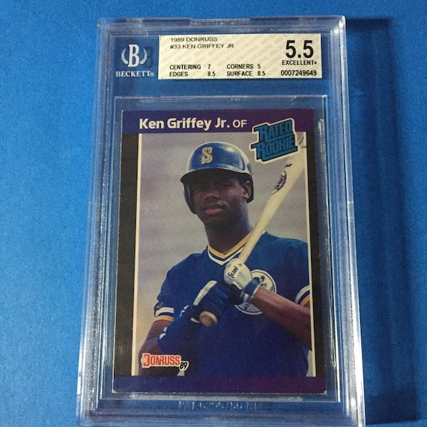 1989 Donruss 33 Ken Griffey Jr Rookie Baseball Card Bgs 55 Excellent
