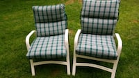 white and green plaid padded armchair Buffalo