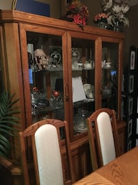 Brown wooden framed glass display cabinet Winnipeg