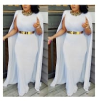 stylish round neck cloak design white Qmilch floor length dress stretch  - M ( without belt and accessories) Silver Spring, 20910
