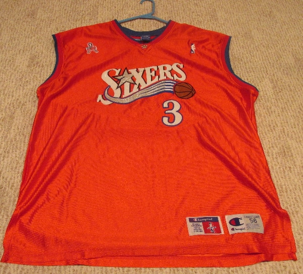 new concept 919a4 16bd1 Red Champion Allen Iverson 76ers Sixers Jersey Size 56 XXXL w/ 9/11 Patch  Sewn