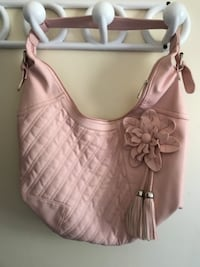 pink faux leather hobo bag