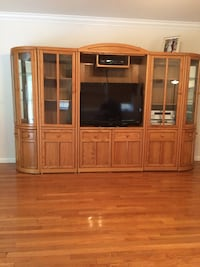 brown wooden TV hutch with flat screen television Chester, 10918