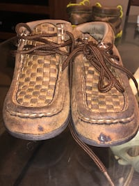 Pair of brown woven top moccasins  Wichita, 67207