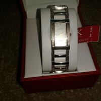 rectangular Anne Klei analog watch with silver-colored link band Orlando, 32835