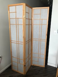 brown wooden framed glass panel room divider Washington, 20009