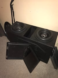 12 inch audiopipe subwoofers 2400 Watts each. With q bomb box. With 25 inch screen don't have an amp that will push them. Brand new.  Ardmore, 73401