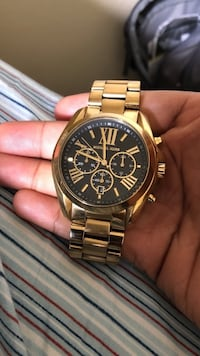 round gold Michael Kors chronograph watch with link bracelet Baton Rouge, 70815