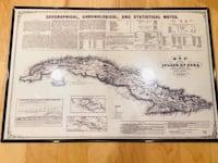1855 historical map of Cuba print, black plastic frame Washington, 20009