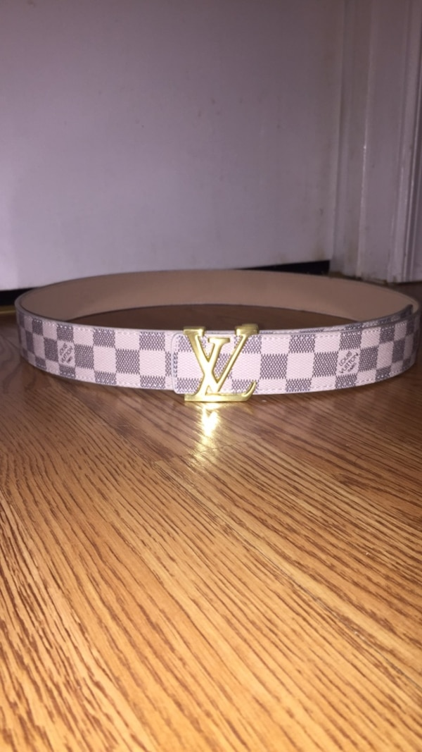 White and brown louis vuitton leather belt