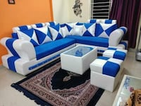 white and blue fabric sofa set Mumbai, 400104