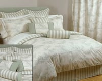 Bedding - Duvet Cover and 2 Shams Toile pattern in Sage Vancouver, V5K