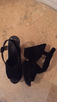 pair of black open-toe ankle strap wedges Las Vegas, 89138