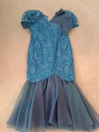 Dress (blue) long with sheer ovelay Burnaby