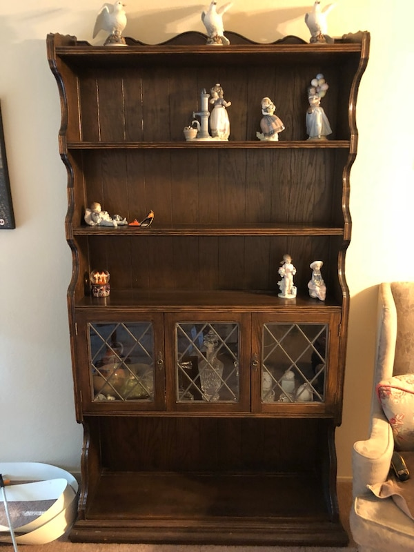 Used Ethan Allen Royal Charter Oak Bookcase Library Wall Unit Leaded Gl 16 9005 For In Los Altos Letgo