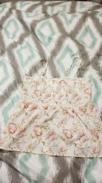 white and pink floral spaghetti strap dress