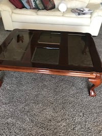 rectangular brown wooden framed glass top coffee table Oak Grove, 55303