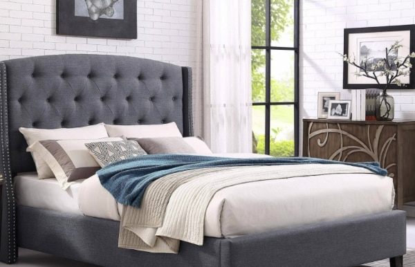 Eva Grey Fabric Tufted Headboard King Size Bed b4c7232d-e7d5-4f9e-92fd-fadd69c44aed