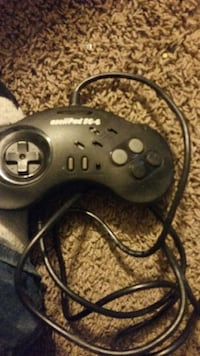 black corded game controller