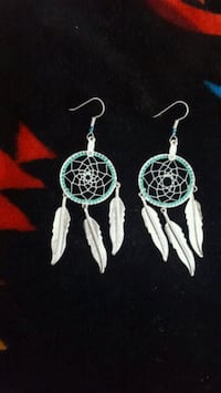 pair of teal-and silver dream catcher earrings Billings, 59101