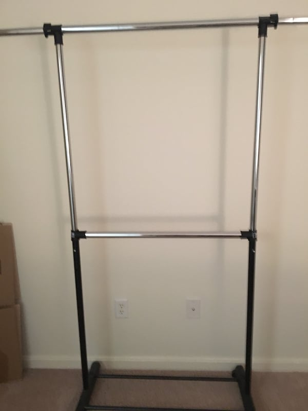 Mainstays Adjustable 2-Tier Rolling Garment Rack 6f2800a6-e67f-4ccc-b68e-8866b3489194