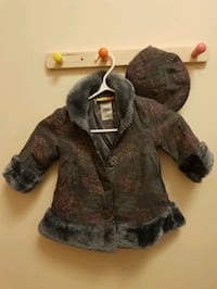 Little girl coat with matching hat (size 12 months