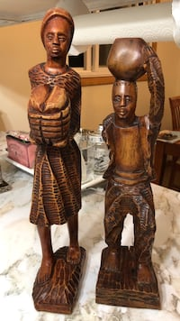 "Wooden Statues, 19"" & 17"", Pick up only Whitchurch-Stouffville"