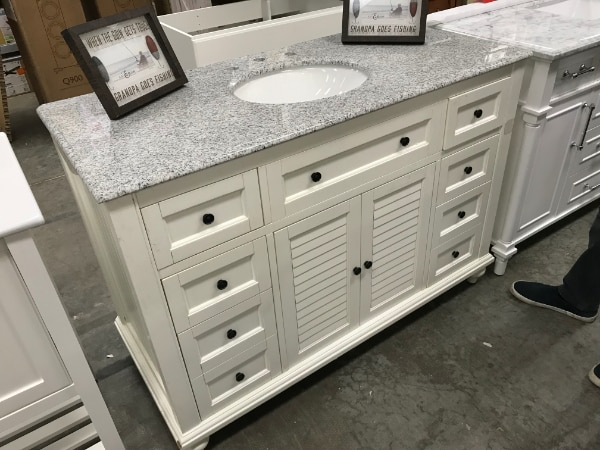 Home Decorators Collection Hamilton Shutter 49 12 In W X 22 In D Bath Vanity In Ivory With Granite Vanity Top In Grey