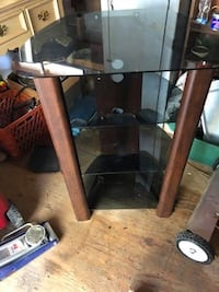 Brown wooden Corner 4tier glass shelved entertainment center Birmingham, 35204