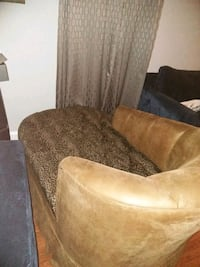 brown suede sofa chair with throw pillow Washington, 20008