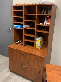 Desk, filing drawers and cabinet