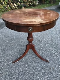 Solid wood antique drum table with drawer Waltham, 02451
