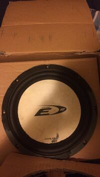black and gray Alpine Type E subwoofer with box
