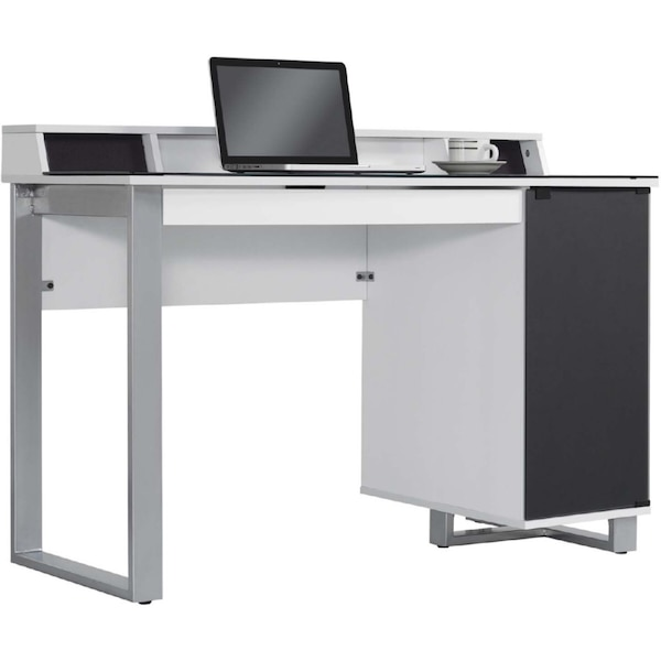 Brand New Enterprise White Desk With Speakers And Integrated Sliding File Drawer